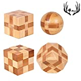 4 Pack Wooden Puzzle Games Brain Teasers Toy- 3D Puzzles for Teens and Adults - Wooden Logic Puzzle Wood Snake Cube Magic Cube Magic Ball Brain Teaser Intellectual Removing Assembling Toy