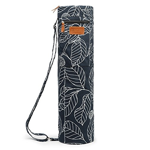 Elenture Full-Zip Exercise Yoga Mat Carry Bag with Multi-Functional Storage Pockets (Black Leaf)