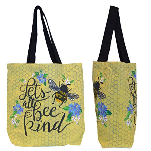 Shopper Tote Bag - Let's Bee Kind, Eco-Friendly Reusable Multipurpose Canvas Grocery Bag