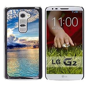 // PHONE CASE GIFT // Duro Estuche protector PC Cáscara Plástico Carcasa Funda Hard Protective Case for LG G2 / Hermosas Nubes y agua /