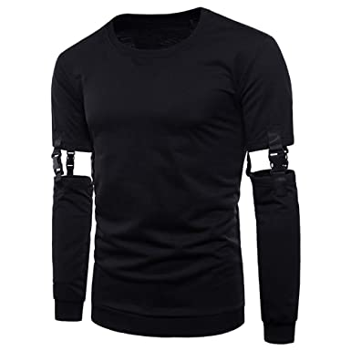 d332cef674e BHYDRY Mens T Shirts Autumn Winter Solid Removable Long Sleeves O-Neck Top  Blouse  Amazon.co.uk  Clothing