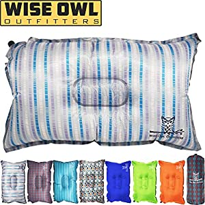 Wise Owl Outfitters Camping Pillow Lightweight & Self Inflating – Inflatable Foam & Air Compact Camp Pillow Best Lumbar Support Travel Airplane Camping Beach Hammock Backpacking Hiking Sleeping-STRIPE