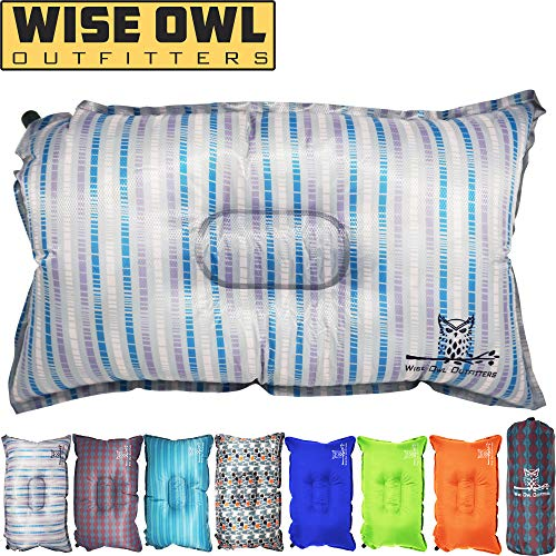 Wise Owl Outfitters Camping Pillow Lightweight & Self Inflating – Inflatable Foam & Air Compact Camp Pillow Best Lumbar Support Travel Airplane Camping Beach Hammock Backpacking Hiking Sleeping-STRI