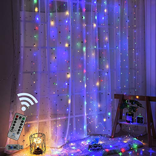 Obrecis 300 LED 8 Modes Window Curtain Twinkle Starry Lights, Colorful USB Remote & Timer Icicle Curtain Lights for Wedding, Party, Garden, Christmas, Halloween Decorations-9.8ft x 9.8ft(Four Color)]()