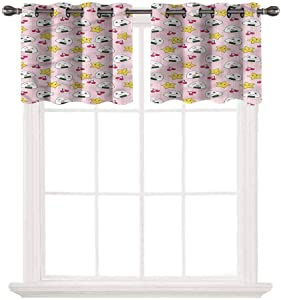 SoSung Blackout Window Valance for Kitchen,Anime,Japan Funny Food Pattern,Thermal Insulated Blackout Grommet Tier Curtain for Cafe Store,W42 by L24,2 Panels