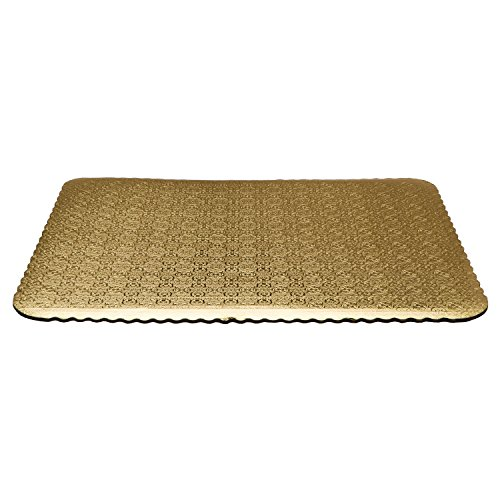 """19"""" x 14"""" Gold Cake Board Double Wall with Plasticized Finish for Cakes Decorations Square Flower Embossed - Lightweight and Study Corrugated Boards - Grease Resistant & BPA Free (Pack of 10) (Square Large Board)"""