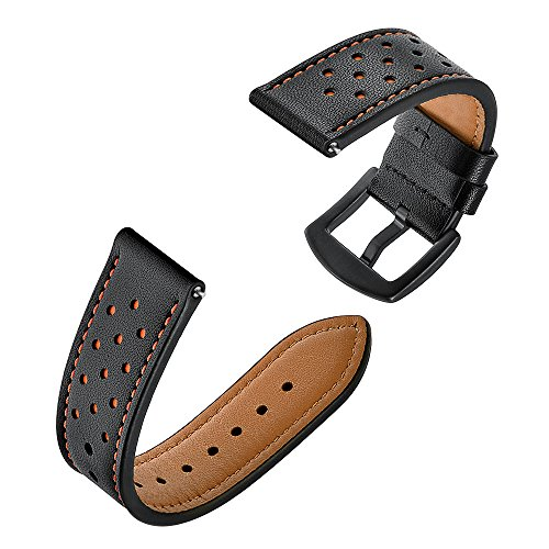 Price comparison product image BIYATE for Huami Amazfit Stratos Smart Watch Band,  Men Women Classic Replacement Soft Sports Leather Wrist Band Strap with Metal Clasp for HUAMI Amazfit Stratos Smart Watch 22mm