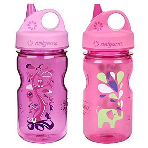 Children's BPA Free Dishwasher Safe Tritan Water Bottle 12oz - 3 Inches in Diameter by 7.75 Inches Tall (12oz, Set of 2, Pink Elephant and Pink Woodland) ()