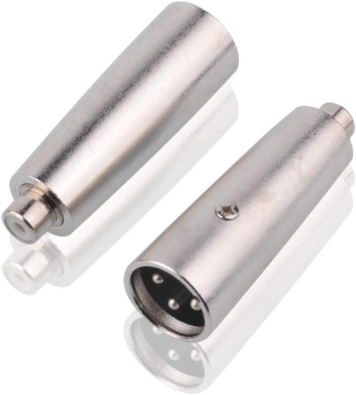 to XLR - XLR F M RCA M S SIENOC Nickel Plating RCA RCA Female to XLR Male Connector Metal Silver , 2 Piece F Adapter