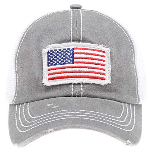 (MIRMARU Women's Baseball Caps Distressed Vintage Patch Washed Cotton Low Profile Embroidered Mesh Snapback Trucker Hat (USA Flag, Grey))