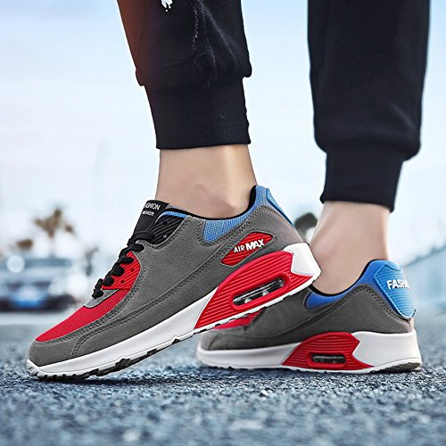 JiYe Running Shoes Men Fashion Students Breathable air Cushion Flyknit Sneakers,Grey,43EU=9.5US-Men by JiYe (Image #3)