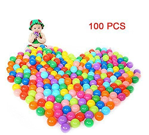 Hosaire 100 Pack Pit Balls Colorful Fun Phthalate Free BPA Free Crush Proof Balls Soft Plastic Air-Filled Ocean Ball Playballs for Baby Kids Tent Swim Toys