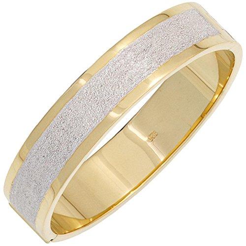 Bracelet femmes partiellement doré argent structure ovale dépoli largeur 1,48 cm profondeur 0,3 cm interne 6,24 x 5,69 cm