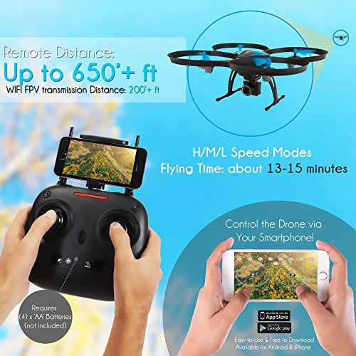 51kNs7r l3L - SereneLife WiFi FPV Drone with HD Camera and live Video. Headless Mode Quadcopter, Altitude Hold, 1-Key Takeoff/Landing, Bonus Battery, Low Voltage Alarm, Custom Route Mode, 15 Minutes Flight Time