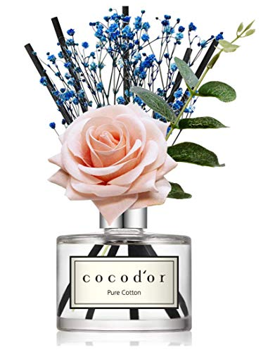 Cocod'or Rose Flower Reed Diffuser/Pure Cotton / 6.7oz(200ml) / 1 Pack/Reed Diffuser Set, Oil Diffuser & Reed Diffuser… 1