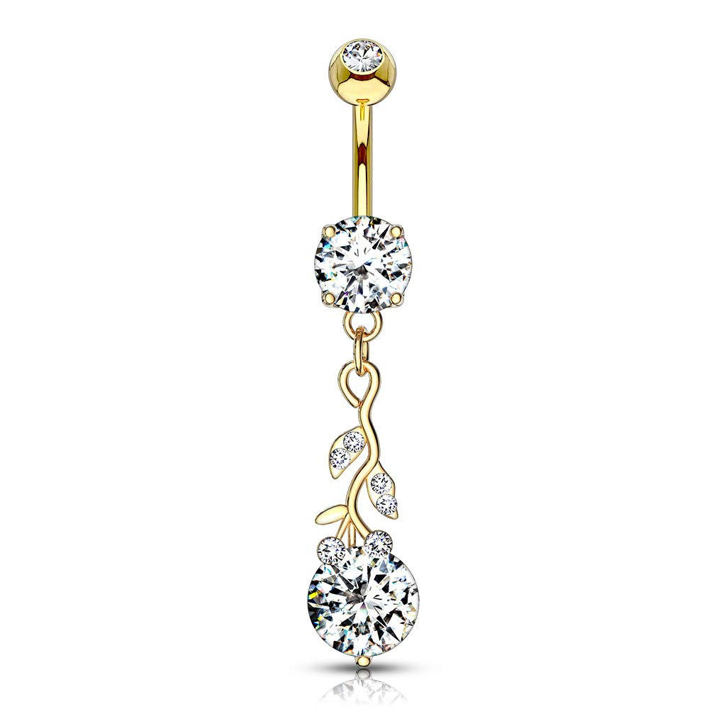 Gemmed Leafs with Large Round CZ Dangle 316L Surgical Steel Belly Button Navel Rings B595