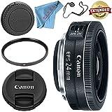 Canon EF-S 24mm f/2.8 STM Lens 9522B002 + 52mm UV Filter + Fibercloth + Lens Capkeeper Bundle