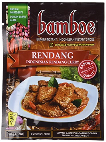 bamboe - RENDANG - INDONESIAN DRY CURRY PASTE - INDONESIAN INSTANT SPICES - 6 x 1.2 OZ /36 g - Product of Indonesia (Paste Spice)