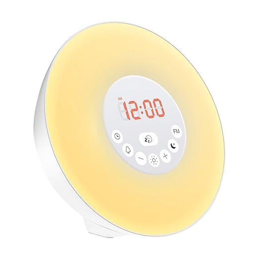 9 opinioni per Geediar Wake-Up Light Lampada di Sveglia Alarm Clock Radio FM 7 Colori 10