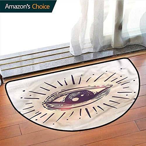 Eye 3D Printing Semi-circular Picnic Mat, Gaze of an Elderly Man Art Traditional Semi-circular for Living Room, Phthalate Free, Rugs for Office Stand Up Desk, Half Circle-W43.3 x R23.6 INCH
