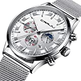 Mens Watches Stainless Steel Black Classic Luxury Casual Watches with Multifunctions Chronograph Sport Watches Waterproof 30M Business Fashion Quartz Wrist Watch for Men - White