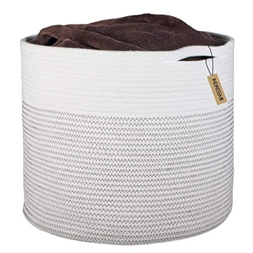 """INDRESSME Extra Large Storage Baskets Cotton Rope Basket Woven Baby Laundry Basket with Handle for Diaper Toy Cute Neutral Home Decor Addition Diaper Toy 17"""" x 14.7"""""""