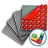 Creative QT Peel-and-Stick, Self Adhesive Baseplates - 4 Pack (10' x 10') - Compatible with Duplo-Style Bricks (Only with Bigger Size Blocks) - Fastest and Easiest DIY Play Table or Wall (Grey)