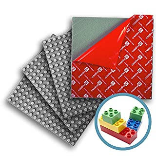 """Creative QT Peel-and-Stick, Self Adhesive Baseplates - 4 Pack (10"""" x 10"""") - Compatible with DUPLO-Style Bricks (Only with Bigger Size Blocks) - Fastest and Easiest DIY Play Table or Wall (Grey)"""