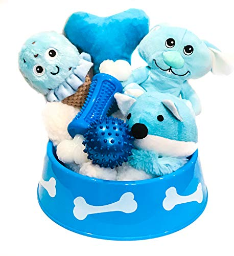 Wolfe & Sparky Gift Pack of Assorted Blue & White Dog Toys (6 Count) in a Blue Dog Bowl Makes a Great Gift (Ideal for Small Dogs only) Toys May Vary from Photo !