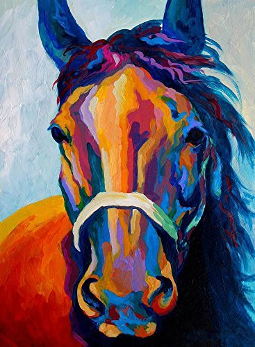 (Y&J Modern Canvas Wall Art for Home and Office Decoration Oil Painting Print Art Animal on Canvas, Riding Horse Pattern,26X36 Inch,Canvas Prints Giclee Artwork for Wall Decor MRR110)