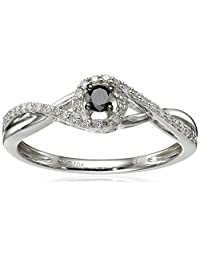 Black and White Diamond Ring (1/4cttw), Size 7