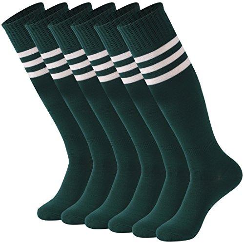 Calbom Unisex Knee High Stripe Winter Warm Stretch Football Sports Cosplay Tube Socks 6 Pack Drak Green White Stripe One Size - Sport Stripe Socks Winter