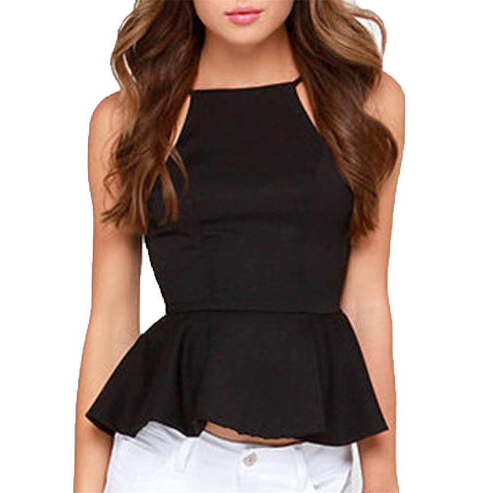 BAOHOKE Women's Spring Summer Sleeveless Top Shirt, Open Back Wrapped Casual Vest(Black,M)