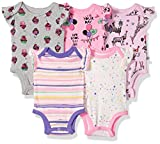Rosie Pope Infant Baby 5 Pack Bodysuits, Pink/Cupcakes/Giraffe, 6-9 Months