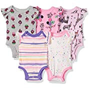 Rosie Pope Baby Infant 5 Pack Bodysuits, Pink/Cupcakes/Giraffe, 0-3 Months