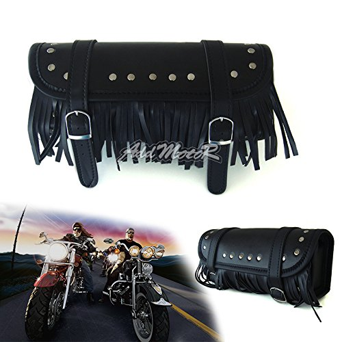 Leather Studded Motorcycle Saddlebags (Addmotor Detachable PU Leather Motorcycle Saddlebag Black Tassels Tool Bag Buckle)