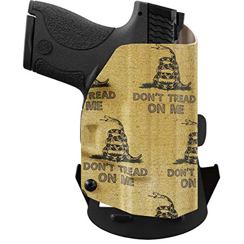 We The People - OWB Holster Compatible with Taser Pulse Gun - Outside Waistband Concealed Carry Kydex Holster (Left Hand, Gadsden Flag)