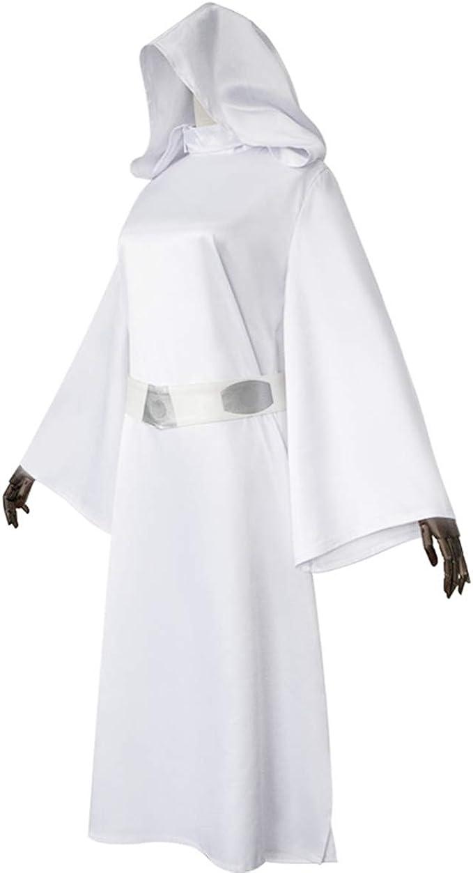 Disfraz de princesa Leia, vestido blanco con capucha para mujer ...