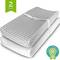 Changing Pad Covers, Cradle Bassinet Sheets Fitted Jersey Cotton (2 Pack) Gre...