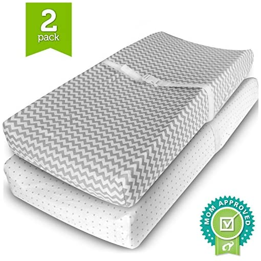 Ziggy-Baby-Changing-Pad-Cover-Cradle-Bassinet-Sheets-Fitted-Jersey-Cotton-2-Pack-GreyWhite-2-Pack