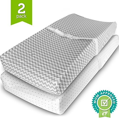 Ziggy Baby Changing Pad Cover, Cradle Bassinet Sheets Fitted Jersey Cotton (2 Pack), Grey/White, 2 Pack (Strap Furniture Collections)