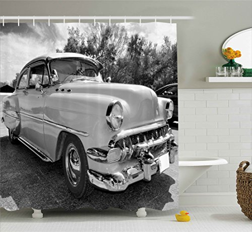 Ambesonne Vintage Shower Curtain, 50s 60s Retro Classic Pin Up Style Cars in Hollywood Movies Image Artwork, Fabric Bathroom Decor Set with Hooks, 70 Inches, Black White and Gray