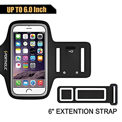 Sports Armband for iPhone 7 Plus 6 Plus 6s Plus, Portholic-LIFE WARRANTY-For LG G5, Note 3/4/5 with case(fits with Otterbox Defender&Lifeproof case)with Key&Cards Holder, Cable Locker(BLACK,6.0-Inch)