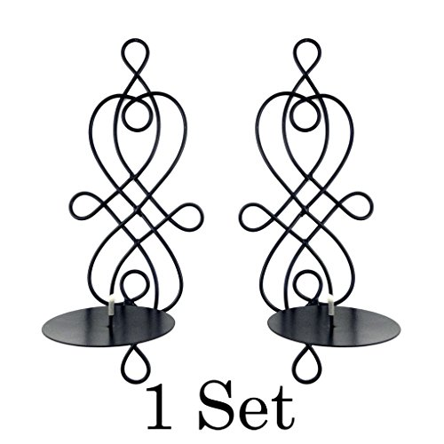 Mememall Fashion Home Decor Modern Art Candle Holder Wall Sconce Black Wire Metal Plaque Set Pair (Ms Swan Costumes)
