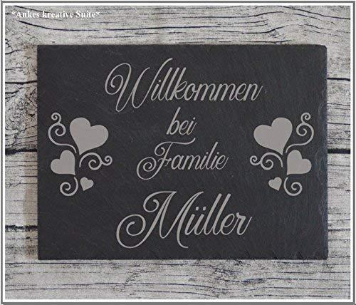 Haustürschild Namensschild Türschild Familie Schiefer Gravur versch. Größen