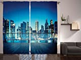 Ambesonne Cityscape Scenery Decor Artwork Curtains, New York Skyline Harlem Nights Manhattan Skyscrapers, Window Drapes 2 Panel Set for Living Room Bedroom, 108 W X 84 L Inches, Blue and Cream Review