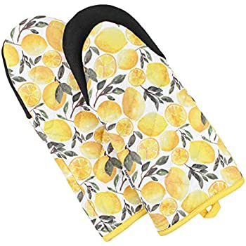 Sage and Stitch Kitchen Oven Mitts for Women 5.5'' x 12'' with Non Slip Heat Resistant Neoprene Grip and Hanging Loop Long Sleeve for Baking, Cooking, BBQ, 100% Cotton, Set of 2 - Yellow Lemons