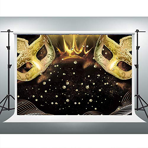 Gold Mask Diamond Backdrop for Masquerade 7x5ft Masked Ball Theme Birthday Party Background Photo Booth Studio Props LSVV570 ()