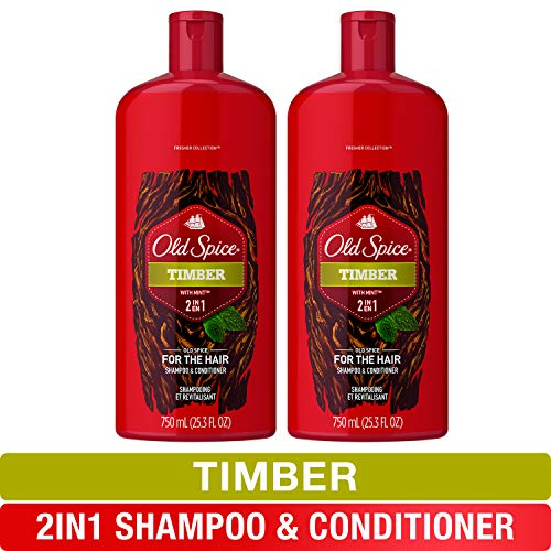 Old Spice, Shampoo and Conditioner 2 in 1, Timber for Men, 25.3 fl oz, Twin Pack