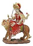Ebros Hindu Goddess Durga Sitting On Tiger Statue The Invincible Devi Shakti Independence Figurine